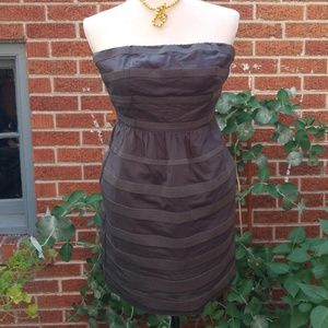 J. Crew Grey Cotton Strapless Dress